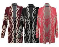 Women Ladies Knitted Long Sleeves Belted Boyfriend Open Cardigan Waterfall Dress