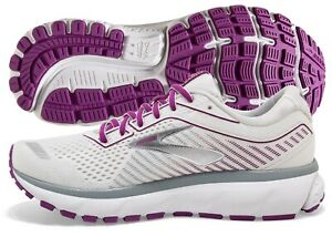Brooks Ghost 12 Women's Shoe White/Grey/Hollyhock multiple sizes New In Box