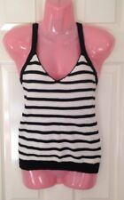 Black & White Stripey Knitted Vest Top Primark Size 8 New With Tags Cross Back