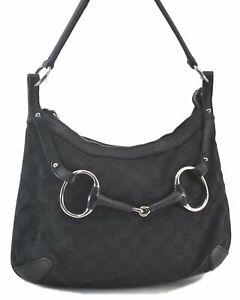 Authentic GUCCI Horsebit Canvas Leather Shoulder Bag Black C3336