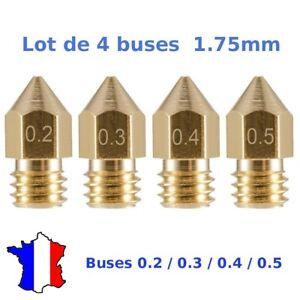 4x Buse MK8 1.75mm diam 0.2, 0.3, 0.4, 0.5mm imprimante 3D Nozzle Extruder Anet