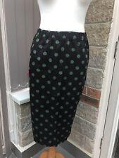 Cath Kidston Sz 12 Midi Pencil Skirt Black Green Polka Dots BNWT
