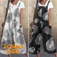 US Womens Jumpsuits Printed Strappy Cotton Overalls Long Pants Wide Leg Romper