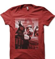Star Wars StormTrooper Darth Vader JEDI Selfie SELFY Paris YODA red t-shirt 9773