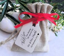 100 Personalised Printed Wedding Favour Thank You Gift / Luggage Tags + Ribbon
