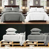 White Grey Duvet Set & Fitted Sheet 100% Egyptian Cotton 200TC Bedding All Sizes