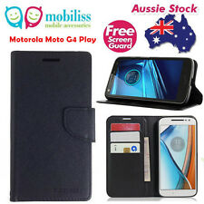 Black Mooncase Stand Wallet TPU In Case Cover For Motorola Moto G4 Play + SP