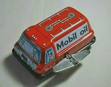 """Vintage Tin Toy New Sanko Wind Up Auto Turn 3"""" Mobil Oil Truck Made in Japan"""