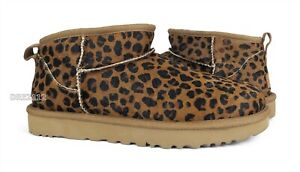 UGG Classic Ultra Mini Leopard Natural Fur Boots Womens Size 10 *NEW*