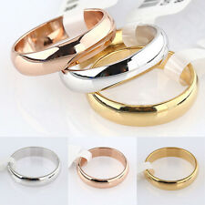 1X New Style Plain Band Engagement Wedding Ring US Size 6-12 Gold Silver Plated