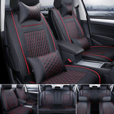 EGD 100% PU Leather Seat Cover 5-Seats Car SUV Black/Red Front+Back Cushions Set