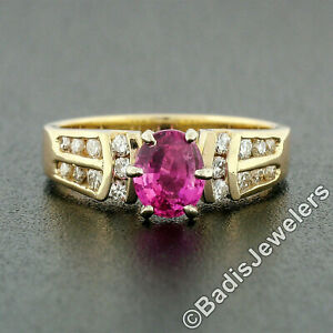 14k TT Gold 1.18ct Pink Sapphire Solitaire Round Diamond Channel Engagement Ring