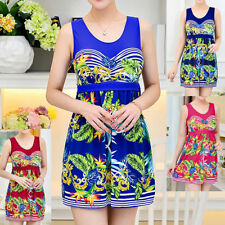 Polyester Scoop Neck Floral Swimwear for Women