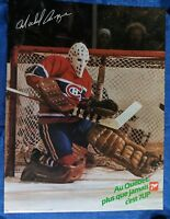"""NHL MONTREAL CANADIENS MICHEL BUNNY LAROQUE 7up PROMOTIONAL POSTER 25"""" x 19"""" in."""