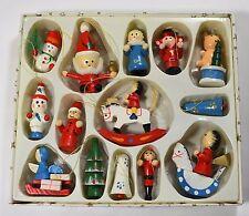 VINTAGE 14 HANMADE artigianale dipinto a mano in Legno Albero di Natale ornamento baubles