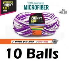 10 x Microfiber Knitting Chunky Yarn 3 Ply 100g Purple Mix Colour Brand New