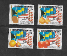 BAHAMAS POSTAL ISSUE FULL MINT SET OF 4 - 1993 50th ANNIVERSARY OF THE CONTRACT