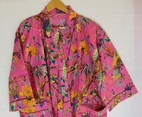 New Flower Print Cotton Kimono Bohemian Bathrobe Caftan Night Wear Dressing Gown