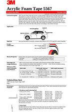 "3M VHB 5567 40'X1/4"" Double Sided Acrylic Foam Automotive Attachment Tape"