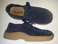 LOWER EAST SIDE Dark Blue Suede Leather Lace Platform Clog Comfort Shoes Sz.6,5W
