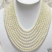 8 Rows Genuine 6-7mm White Freshwater Pearl Necklace