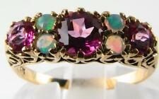 LOVELY 9K  9CT GOLD PINK TOPAZ & AUSTRALIAN OPAL VINTAGE INS RING FREE RESIZE
