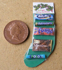 1:12 Scale Filled Christmas Stocking Dolls House Miniature Sweet Accessory Green