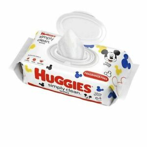 Huggies Simply Clean Baby Wipes Unscented ** 2 Pack of 64 Count** Total 128 Ct