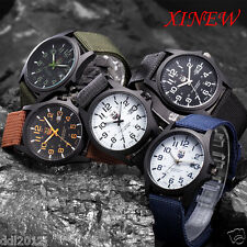 2017 Mens Canvas Band Date Waterpoof Military Army Sports Quartz Wrist Watches