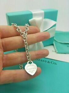 """Return To Tiffany & Co Silver Lariat Heart Tag 16"""" Necklace Full UK Hallmarked!"""