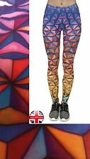 Ladies Super Soft Matte Fabric Triangles Print Leggings Trousers One size UK8-12