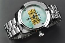 ARAGON Mens Automatic 23 jewel Skeleton   Platinum Green Mother-of-Pearl Dial