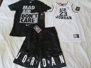 NEW 3Pc NIKE Air Jordan Boys BASKETBALL OUTFIT Jersey+Blk Shorts+T Ymd FREE SHIP