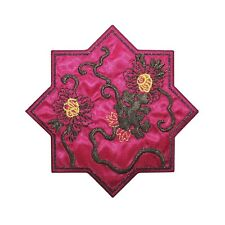 ID 5103 Magenta Flower Star Large Patch Chinese Embroidered Iron On Applique