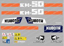 KUBOTA KH50 MINI BAGGER KOMPLETTE AUFKLEBER SATZ MIT SICHERHEIT-WARNZEICHEN