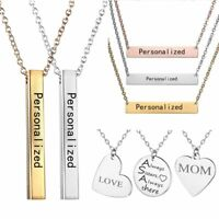 Personalized Stainless Steel Name Engraved Bar Pendant Chain Necklace Custom HOT
