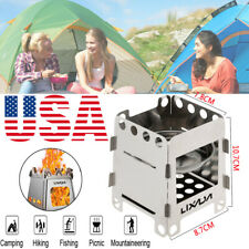 Stainless Steel Folding Wood Stove Pocket Cooking Outdoor Burning Camping Picnic
