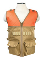 Hunting Shooting Vest Blaze Orange & Tan Lots of Pockets Room for Shells NWT