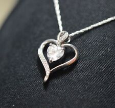 """14k White Gold FN Solitaire Heart Shape Diamond Pendant With Necklace 18"""" Chain"""