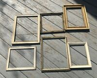 Vintage Wood Picture Frame lot of 6 Gold Cream Ivory repair repurpose