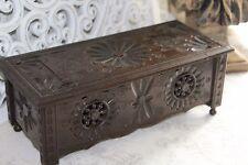 A Lovely Vintage French Quimper Breton Carved Oak Wooden Box