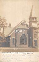 Ohio Postcard Real Photo RPPC 1907 GARRETTSVILLE Congregational Church