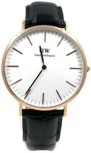 Daniel Wellington Men's Classic Reading Watch Italian Black Leather Band 0114DW