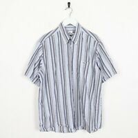 Vintage LACOSTE Small Logo Short Sleeve Striped Shirt Blue White | XL