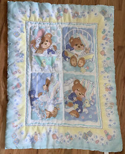 "Vintage MVM Inc Sleepy Teddy Beddy Bear Baby Nursery Crib Bedding Blanket 31x41"""