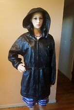 Wilsons leather motorcycle jacket womens size M with zip off hood black sinch wa