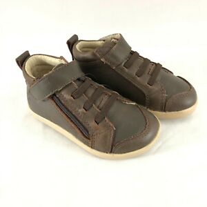 Old Soles Toddler Boys Hi Top Sneakers Leather Zipper Brown Size 22 US 6
