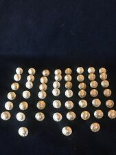 """Lot of 51 Vintage Waterbury Monogramed P W/ Wreath Police Gold Toned Button 3/8"""""""