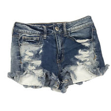 American Eagle Outfitters AEO Hi Rise Shortie Distressed Denim Jean Shorts 2 US