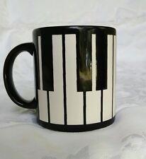 "Black White Piano Keys Coffee Tea Mug Waechtersbach Germany 12 oz 3 3/4"" EUC"